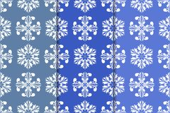 Set of floral ornaments. Vertical blue seamless patterns Royalty Free Stock Photos