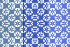 Set of floral ornaments. Vertical blue seamless patterns. Set of floral ornaments. Blue vertical seamless patterns. Wallpaper backgrounds Stock Photo