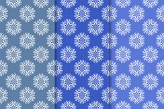 Set of floral ornaments. Vertical blue seamless patterns. Set of floral ornaments. Blue vertical seamless patterns. Wallpaper backgrounds Royalty Free Stock Image