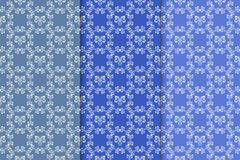 Set of floral ornaments. Vertical blue seamless patterns Stock Images