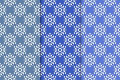 Set of floral ornaments. Vertical blue seamless patterns. Set of floral ornaments. Blue vertical seamless patterns. Wallpaper backgrounds Stock Photos