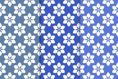 Set of floral ornaments. Vertical blue seamless patterns. Set of floral ornaments. Blue vertical seamless patterns. Wallpaper backgrounds Royalty Free Stock Photography