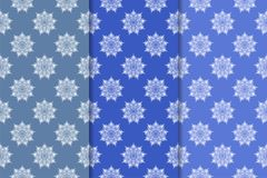 Set of floral ornaments. Vertical blue seamless patterns. Set of floral ornaments. Blue vertical seamless patterns. Wallpaper backgrounds Stock Images