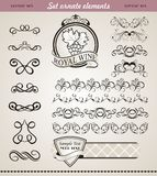Set Floral Ornate Design Elements Stock Images