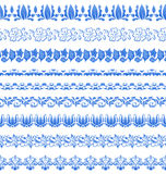 Set floral ornate tracery pattern in gzhel style for your design Royalty Free Stock Image
