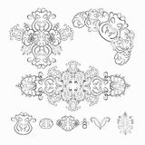 Set of floral pattern black and white graphics. vector illustrat Royalty Free Stock Photo