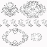 Set of floral pattern black and white. vector illustration Stock Photography