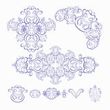 Set of floral pattern blue white. vector illustration Royalty Free Stock Images
