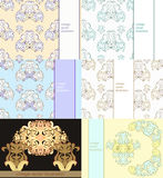 Set floral pattern for a card. vector illustration Royalty Free Stock Photos