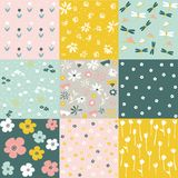Set of floral pattern, spring flowers Stock Image