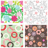 Set of floral patterns Royalty Free Stock Photography