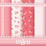 Set floral patterns and borders. Vector Royalty Free Stock Photography