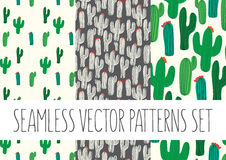 Set of floral patterns with cactus Royalty Free Stock Photo