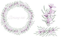 A set of floral patterns, delicate ornament and vector wreath of delicate pink flowers for decorating greeting cards, design greet royalty free illustration