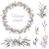 Set of floral patterns and elements. Vector wreath of contour flowers and leaves on a white background. Vintage style for. Decorating cards, designer greetings vector illustration