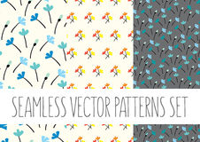 Set of floral patterns with flowers. Vector set of floral patterns with flowers Royalty Free Stock Images
