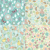 Set of floral patterns Royalty Free Stock Images