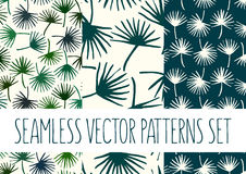 Set of floral patterns with palm tree leafs Royalty Free Stock Image
