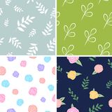 Set of floral patterns. Vector backgrounds with flowers and leaves. For packaging, print vector illustration