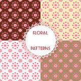 Set floral patterns. Royalty Free Stock Photos