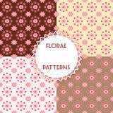 Set floral patterns. Vector illustration Royalty Free Stock Photos
