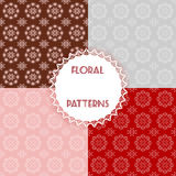 Set floral patterns. Vector illustration Royalty Free Stock Photography