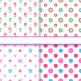 Set of floral and polka dot fabric seamless patterns Royalty Free Stock Images