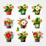 Set of floral pots isolated for your design Stock Image