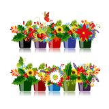 Set of floral pots isolated for your design Stock Photo