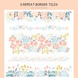 Set of floral repeat borders Royalty Free Stock Photos