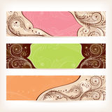 Set of floral retro banners Stock Photo