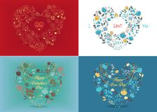 Set of floral romantic cards Royalty Free Stock Image