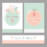 Set of floral romantic wedding,baby shower,birthday cards Stock Photography