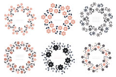 Set with floral round frames  on white background Royalty Free Stock Images