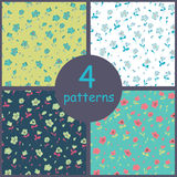 Set of floral seamles patterns Stock Photos