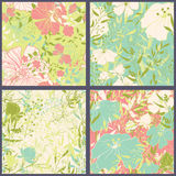 Set of floral seamles patterns. Royalty Free Stock Image