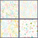Set of floral seamles patterns. Stock Photos