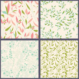 Set of floral seamles patterns. Stock Photo