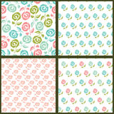 Set of floral seamles patterns. Royalty Free Stock Photography