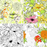 Set of floral seamless background. Universal template for greeting card, web page, background Royalty Free Stock Images