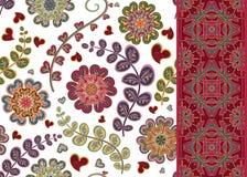 Set of Floral seamless background and border. Vector ornamental pattern set.  stock illustration