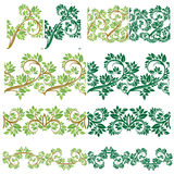 Set of Floral seamless detailed ornaments, borders, frames with Royalty Free Stock Photography