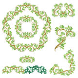 Set of Floral seamless detailed ornaments, borders, frames, vign Stock Photography