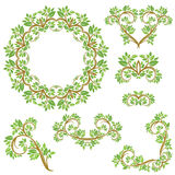 Set of Floral seamless detailed ornaments, borders, frames, vign Royalty Free Stock Photography