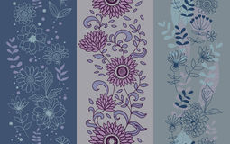 Set of floral seamless pattern Stock Image