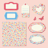 Set with floral seamless pattern and labels Royalty Free Stock Photos