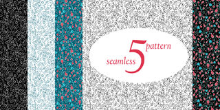 set of floral seamless pattern. vector Stock Photo