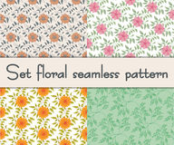 Set floral seamless pattern. Vector illustration Royalty Free Stock Image