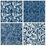 Set of floral seamless patterns. Vector illustration Royalty Free Stock Photos