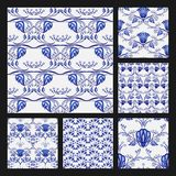 Set of floral seamless patterns in ethnic style of the national porcelain painting. Beautiful blue pattern on a white background. stock illustration
